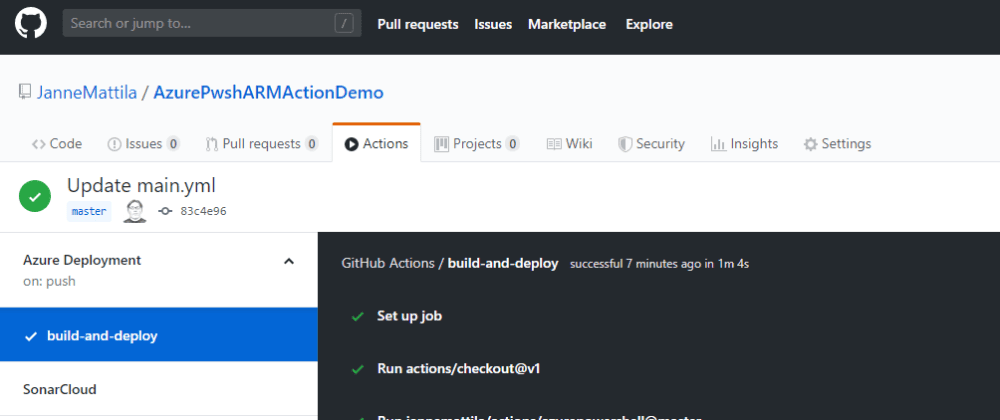 Cover image for Azure PowerShell and ARM template deployment from GitHub actions