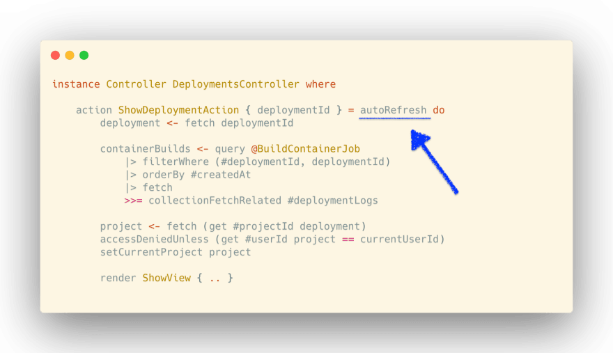 Code editor with an arrow pointing to the use of the autoRefresh function to enable it for an action