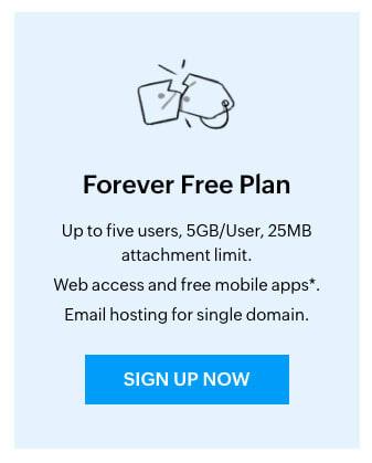 Forever free plan Zoho