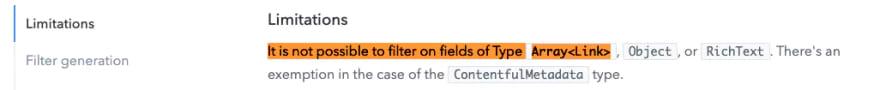 Screenshot of Contentful GraphQL filter limitations.