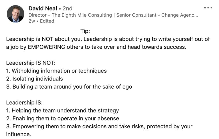LinkedIn post from David Neal