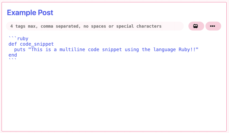 example of using a multiline code snippet with Ruby displayed within the text editor