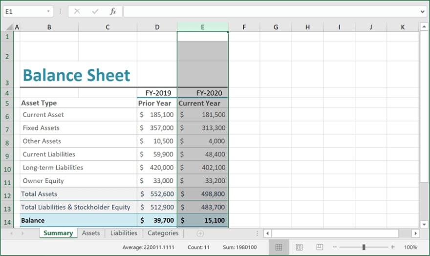 Autofitting the Column in Balance Sheet