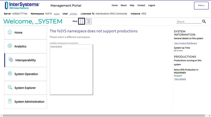IRIS Management Portal