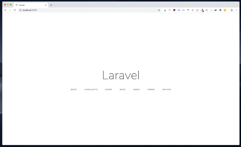 Screenshot of a browser showing the Laravel landing screen