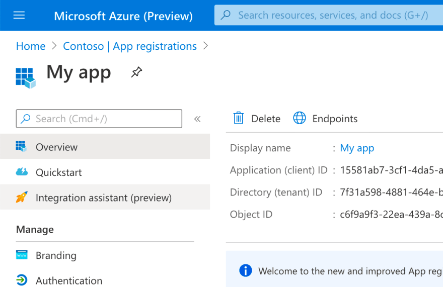 Azure AD Integration assistant highlighted in the menu