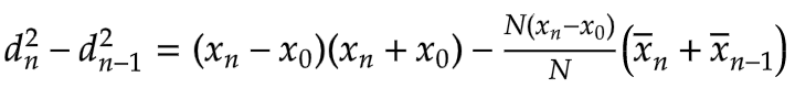 d^2_n - d^2_n-1 simplify difference between current and previous average