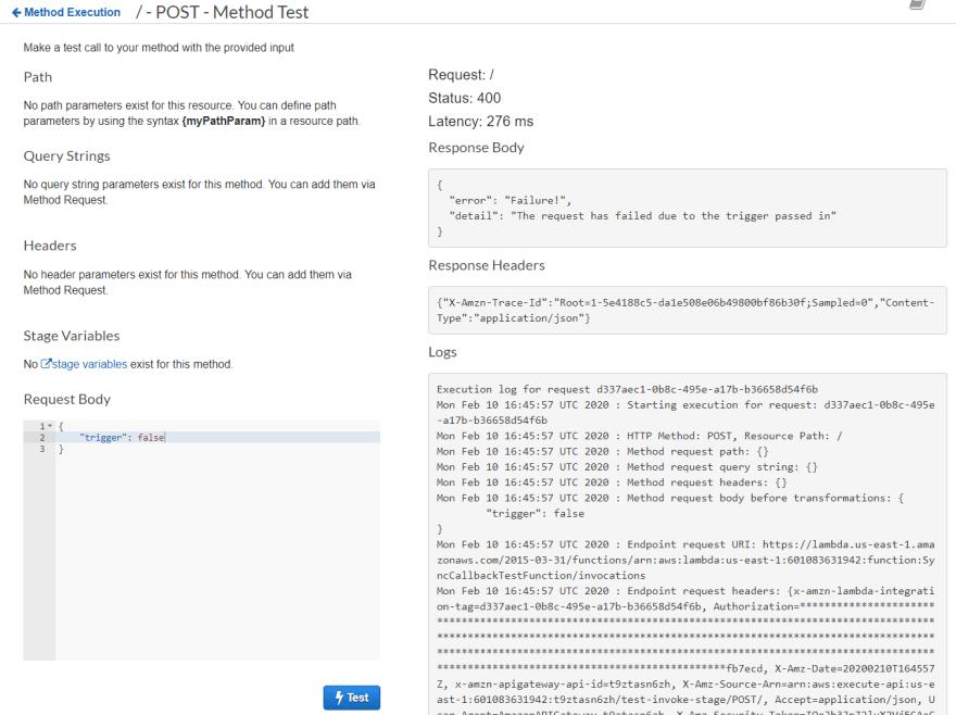 Response with custom error object