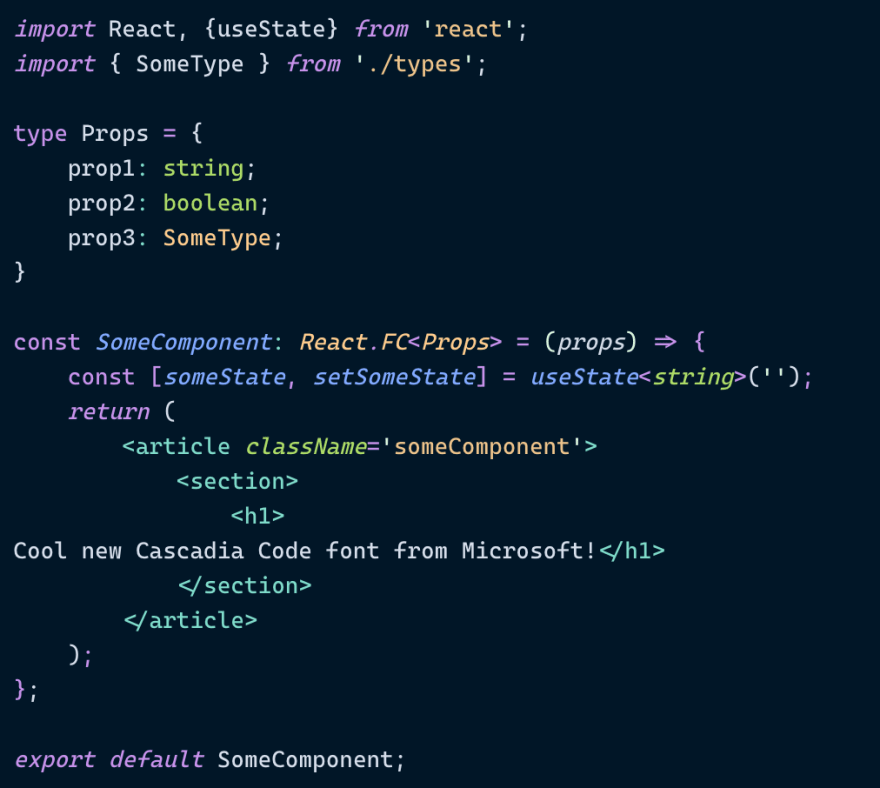 Cascadia Code screenshot