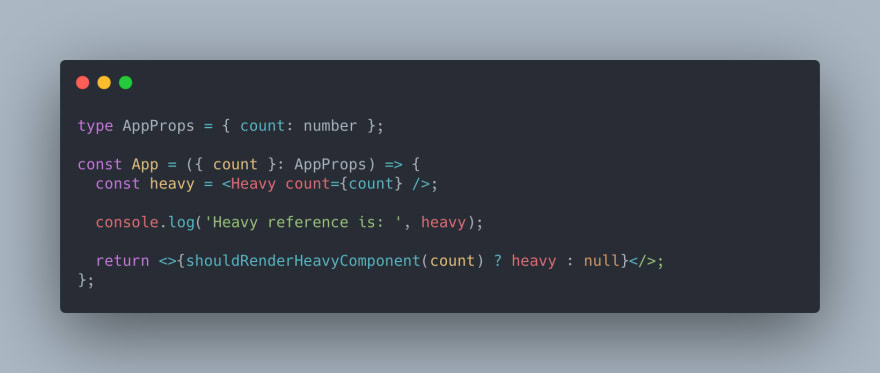 React TypeScript Code of the App component. Rendering condition in return statement