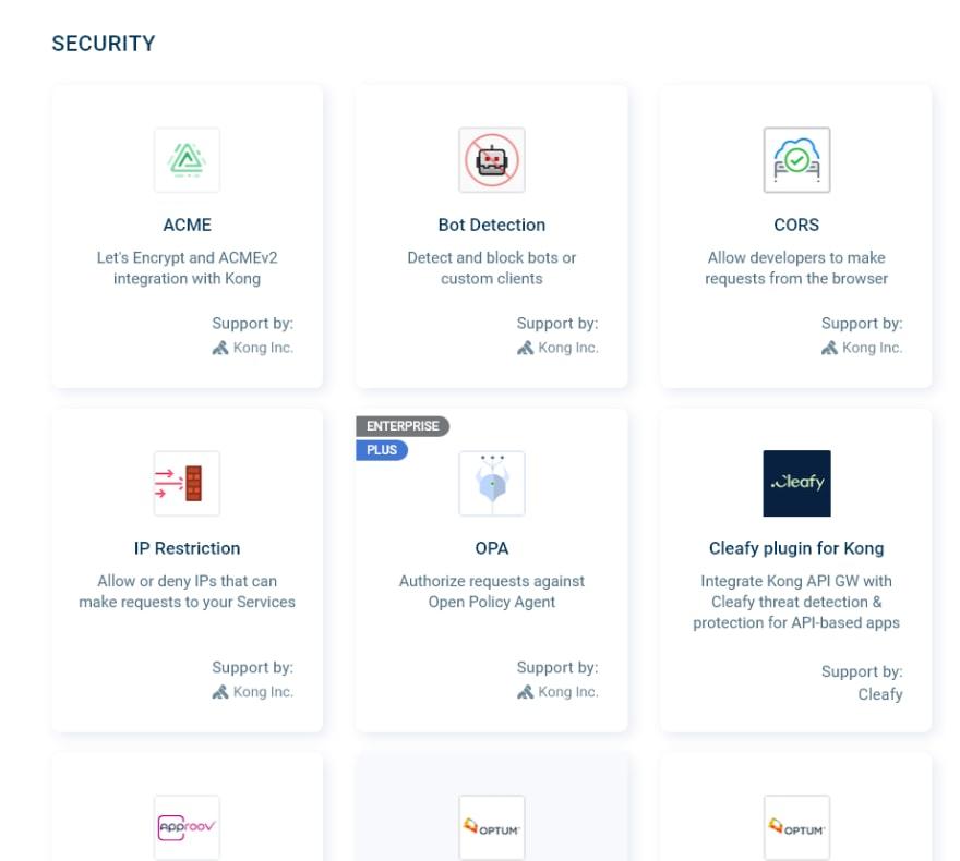 Kong security plugins