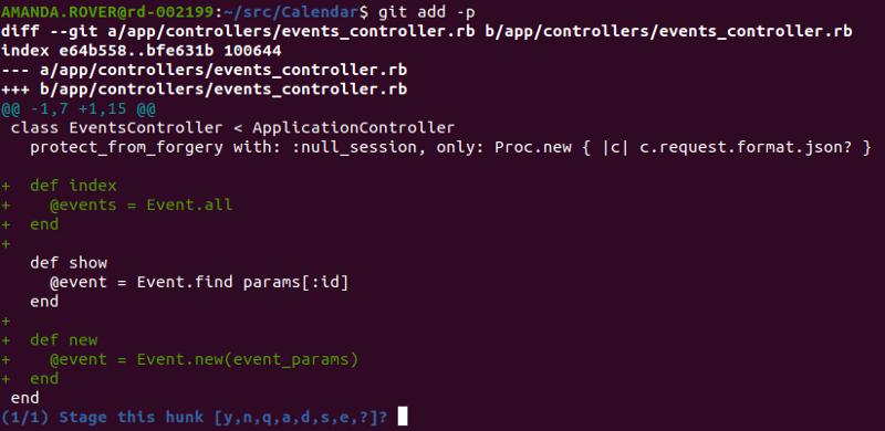 Output do comando 'git add-p'