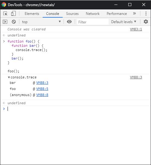 Alt Chrome : console.trace result