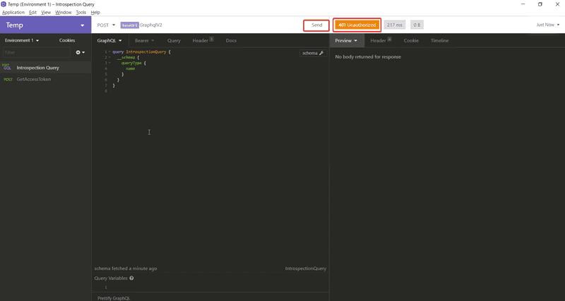 Graphql request without bearer token