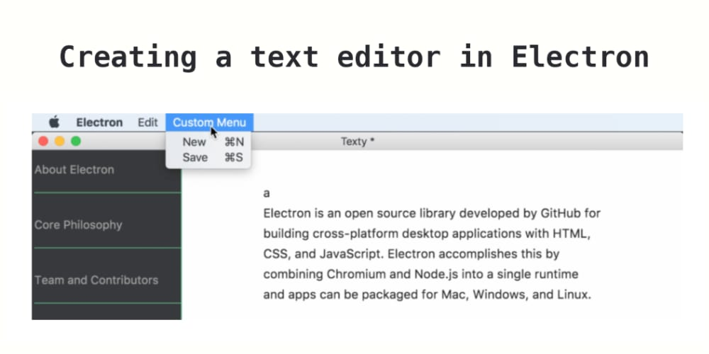 Creating a text editor in Electron: part 2 - writing files