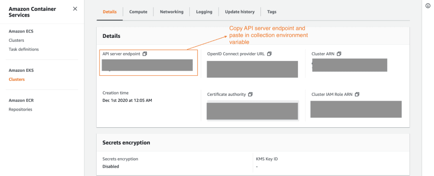 API server endpoint of Kubernetes cluster on Amazon EKS