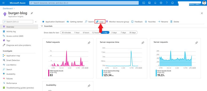 Screenshot of an Azure Application Insights resource