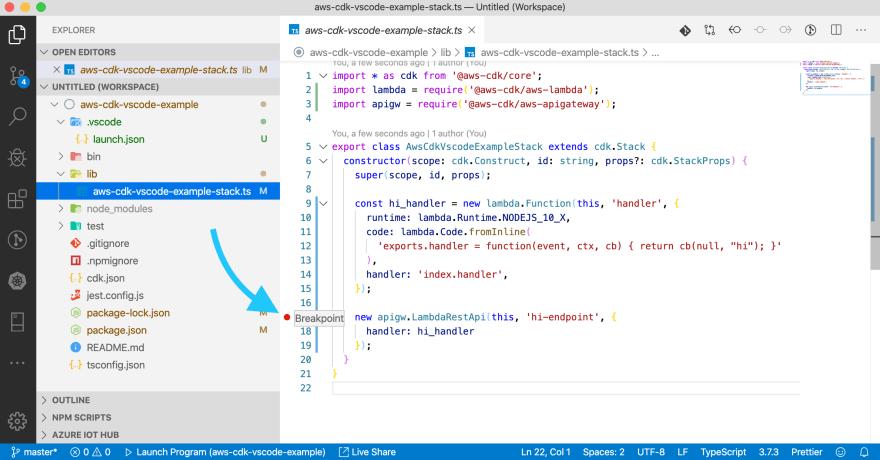 VSCode debugging CDK setting breakpoint