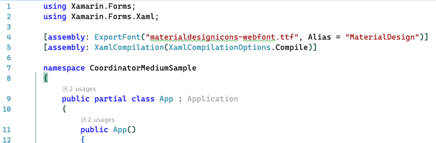 ExportFont attribute in the App.xaml.cs class.