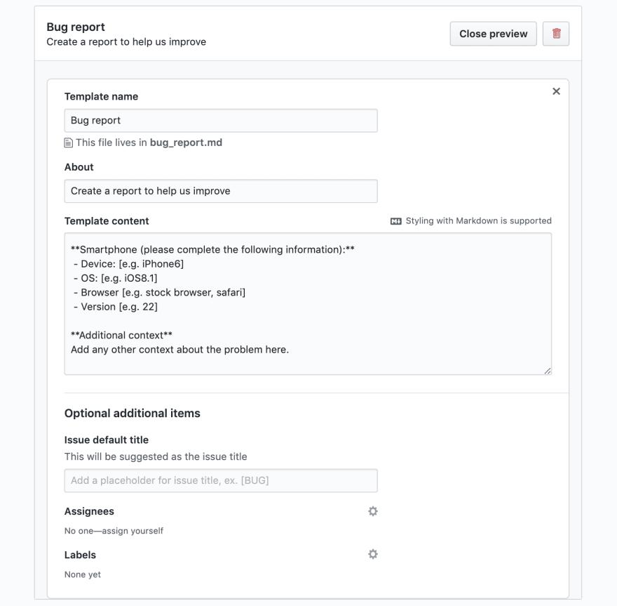 Default GitHub Bug Template