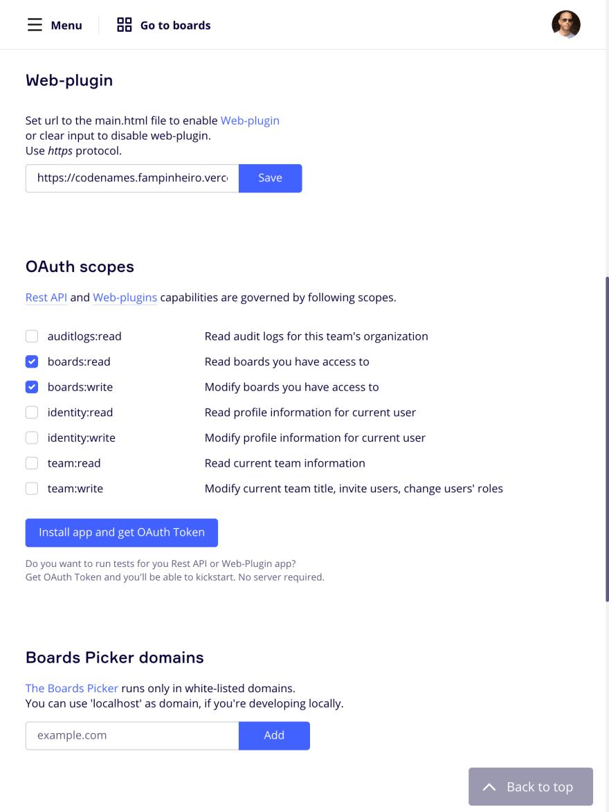 Miro create app settings