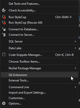 Tools Menu - Visual Studio