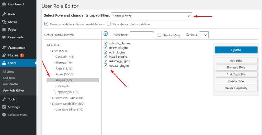 Edit Capabilities of the Selected User Role