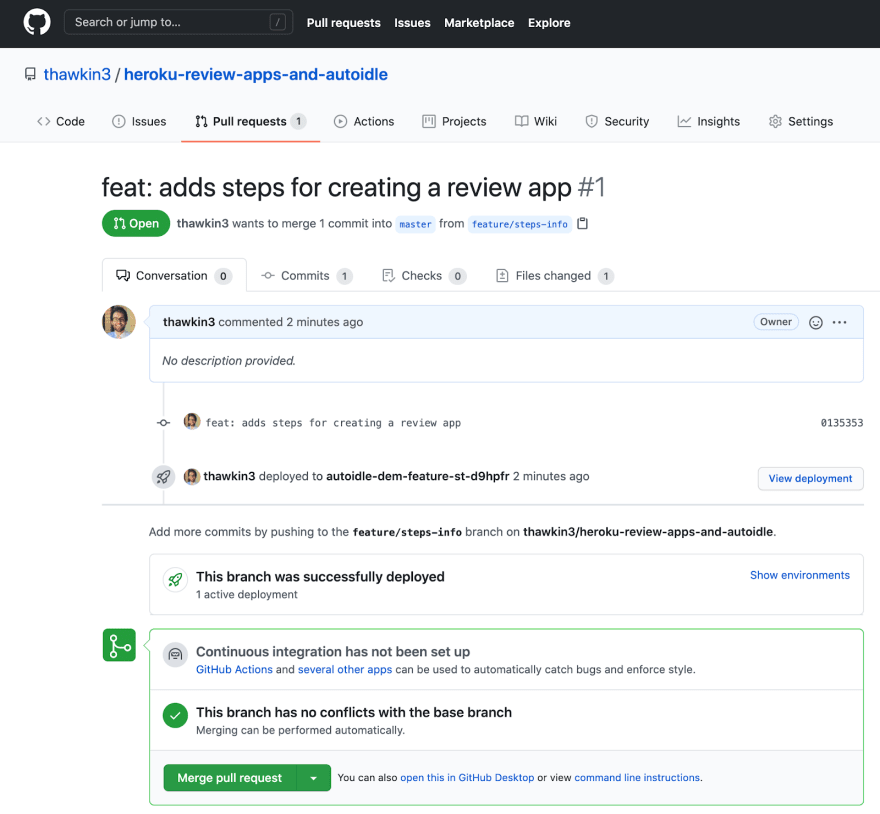 """""""View deployment"""" button in GitHub to see the review app"""