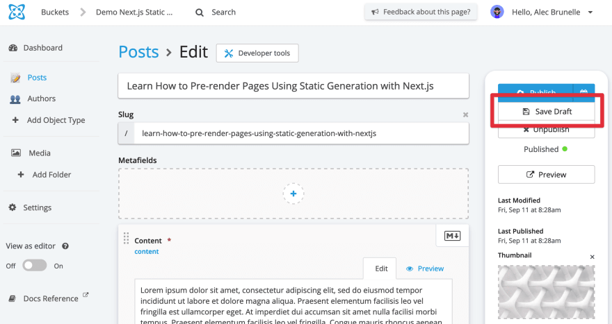 Screenshot of the Cosmic CMS Post data type editing page with Save Draft button highlighted