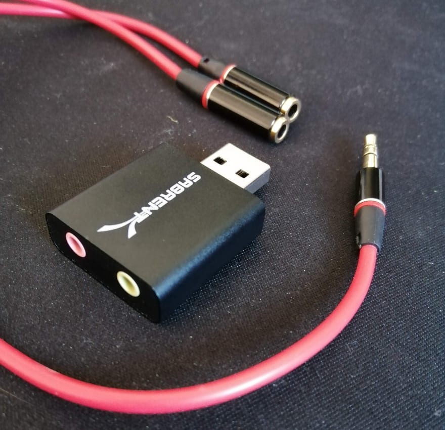 USB line-in and a headphone splitter cable
