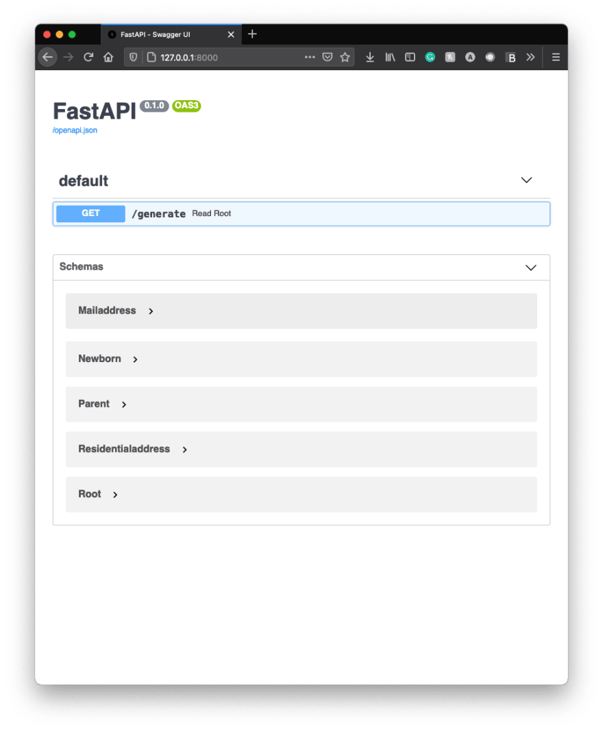 Example Swagger UI - Page 1