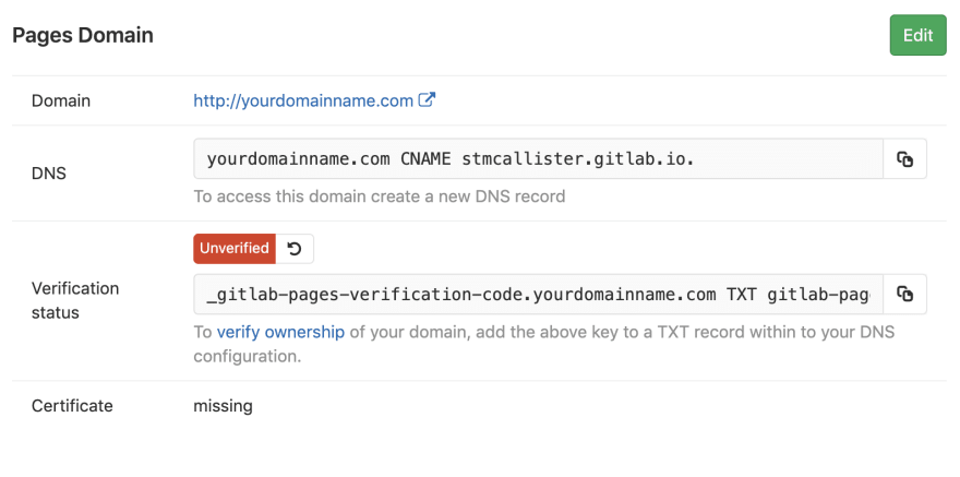 GitLab Pages Domain Settings