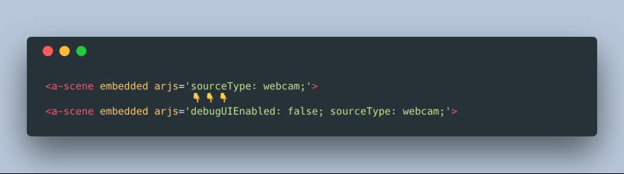 Screenshot of disabling the debugUI in AR.js