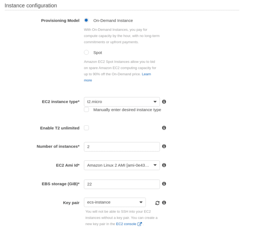 Instance configuration for your cluster