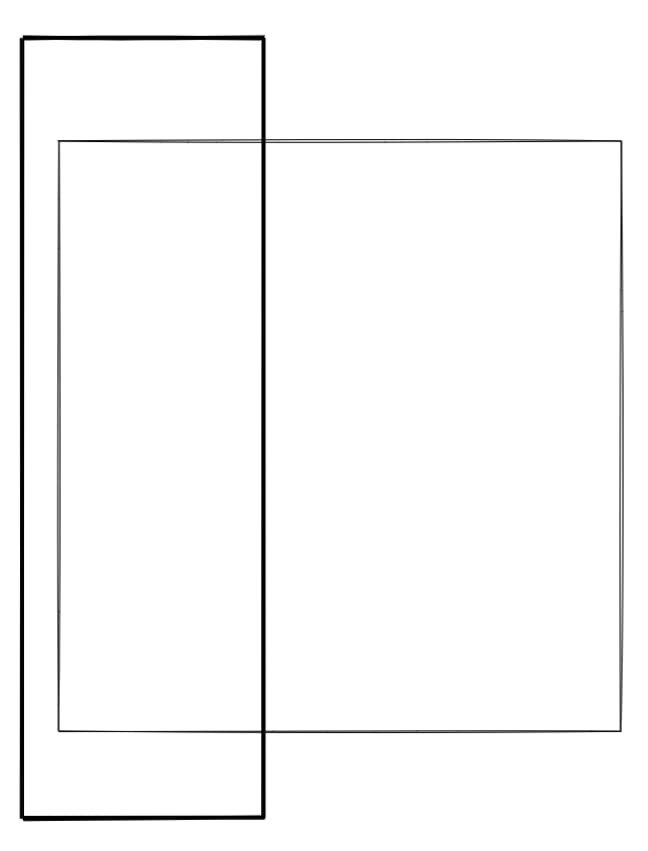 The same image of squares from before, but rotated so that the inner square is escaping out the side of the outer square