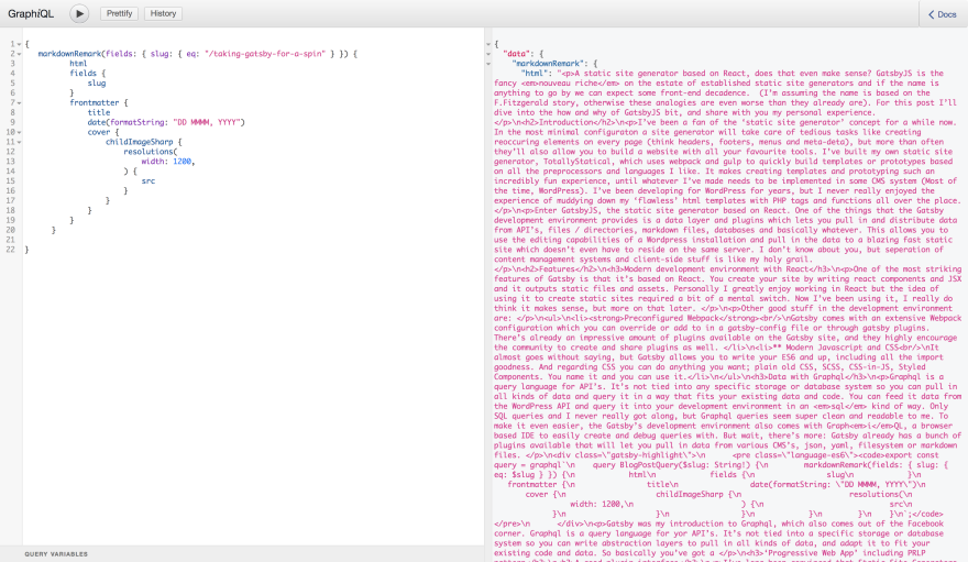Screenshot of GraphiQl