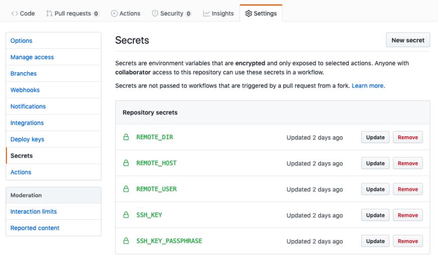 GitHub secrets 1
