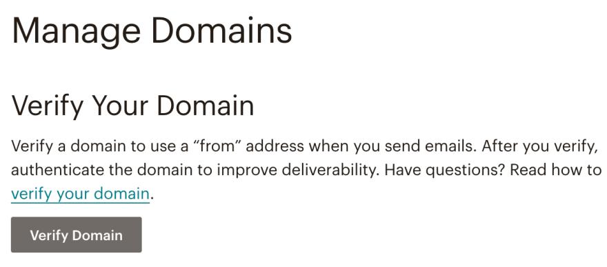 Verify Domain Button