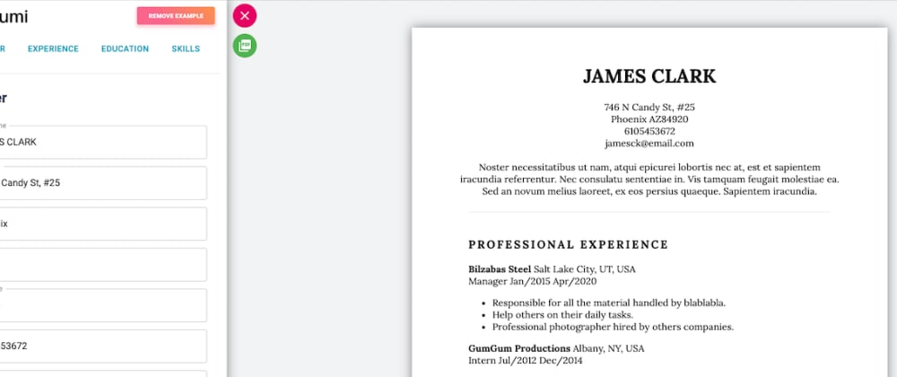 Cover image for A resume builder built with React.js (Hooks, Context API, and Router) [Second project]