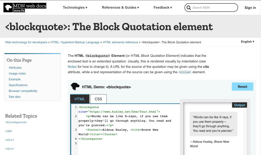 MDN Docs page example
