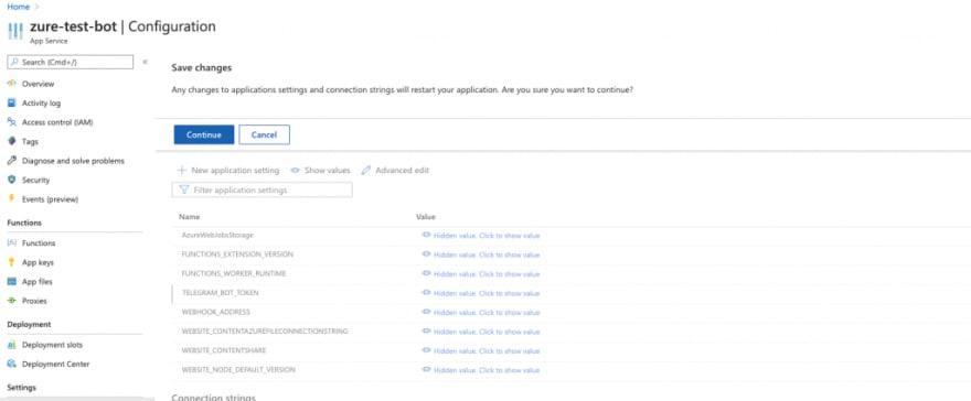 Restart Azure application