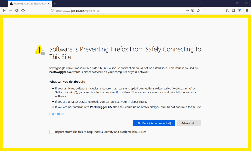 Firefox Security Warning