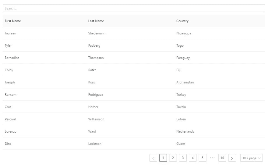 Table with Search box