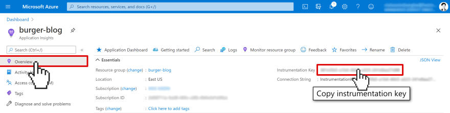 Screenshot of the Application Insights home blade where you can find the instrumentation key