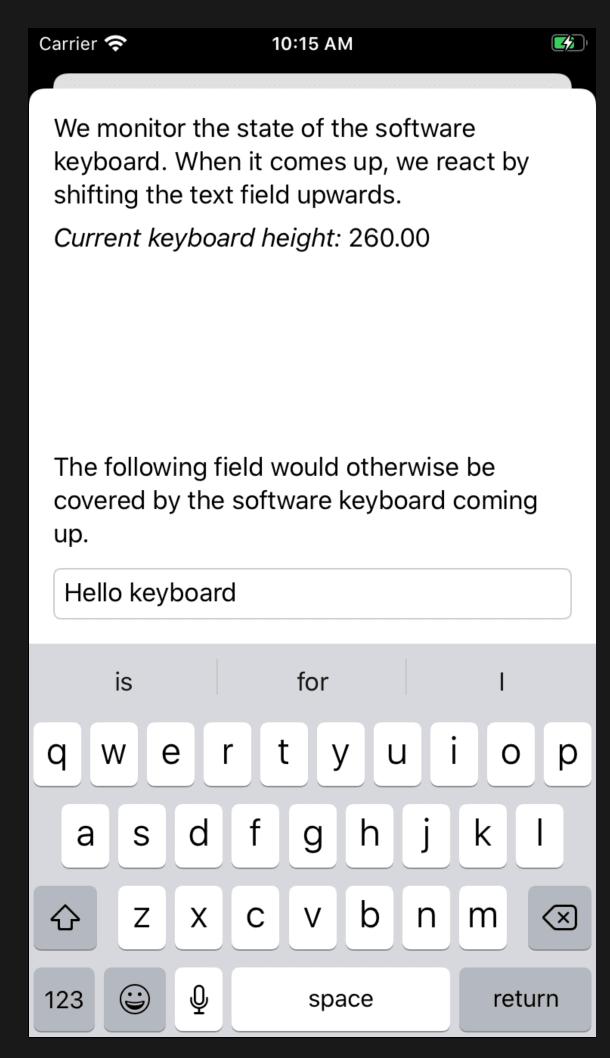 Keyboard-aware views