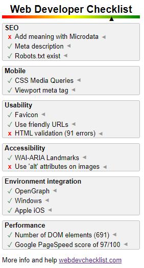 WebDeveloperChecklist para Google Chrome