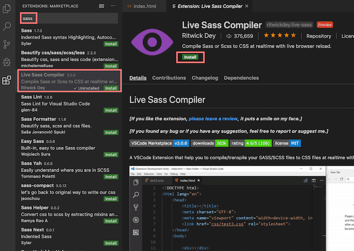 Search for 'Live Sass Compiler' within Visual Studio Code extensions