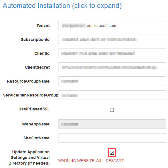 Screenshot of the extension configuration settings