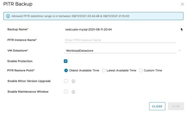Data Management for Tanzu - Org User - Restore Database