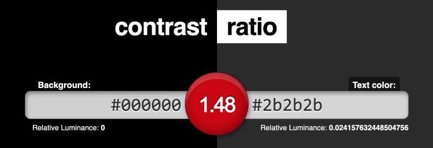 Contrast-ratio.com's screenshot showing that the luminance contrast between #000000 and #2b2b2b is 1.48